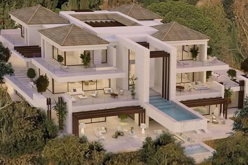Außenansicht der modernen Villa